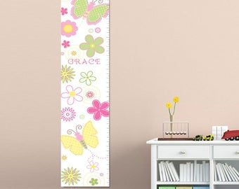 Personalized Butterflies Height Chart  - Personalized Growth Chart for Girls - Personalized Height Chart  - GC925 PASTELBUTTERFLIES