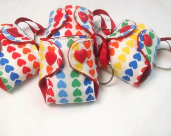 "Cloth Diaper Keychain Rainbow hearts print 2"" Basic Diaper key chain diaper key fob"