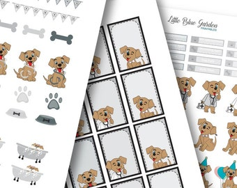 My Little Pup Color Medley: Soft Gray Planner Stickers -Instant Download, printable sticker kit, eclp stickers