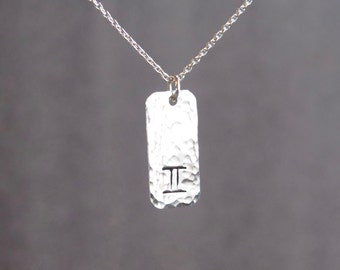 Gemini Necklace - Zodiac Necklace - Sterling Silver