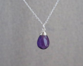 Amethyst Necklace - February Birthstone - Sterling Silver