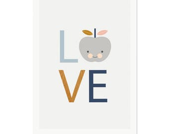 Love Print (Blues), Nursery art, nursery decor, kids art, love print, boysroom art, baby boy art, scandinavian, modern nursery decor.