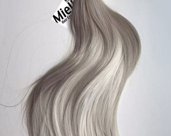 Medium Ash Blonde Balayage Weave Hair Extensions  | Silky Straight Natural Human Hair | Machine Tied Weft | 1, 2, 3, & 4  Bundle Deals