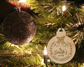 Christmas Ornaments, Personalized, Engagement Gifts for Couple, Wood Christmas Ornaments, Christmas Tree Ornament, Custom Gift, Holiday Gift