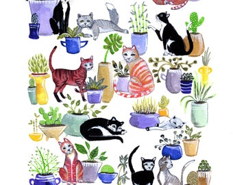 Cats and Plants 8x10 print