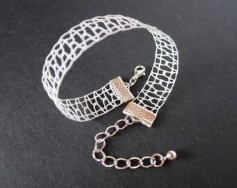 Ajour   Minimalist Geometric Lace Bracelet   Handmade Bobbin Lace Jewellery