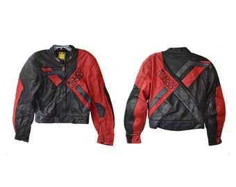 Vintage IXS men Suit 2 pcs jacket and pants Motorcycle real leather black and red protectors