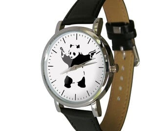 Banksy Panda with guns Watch - Genuine Leather Band