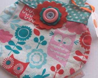 Small handbag for girl - owls and peas