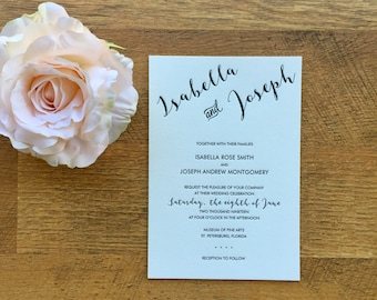 Letterpress Wedding invitation, black ink, item DLP01-IS0608