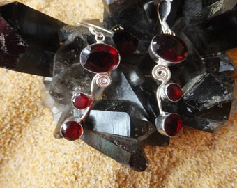Garnet and Sterling Silver Earrings....2 inches in length