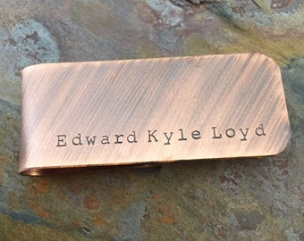 Full Name - Men's Hand Stamped Copper Personalized Money Clip