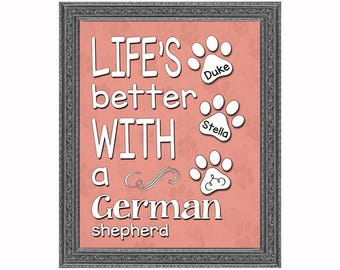 German Shepherd, Personalized, Wall Art, Pet Lovers, Gift For Her, Gift For Him, Funny Dog Art, Dog Art Print, Personalized Pet