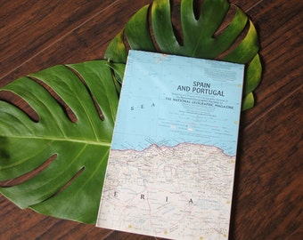 Vintage 1965 Map of Spain and Portugal - National Geographic