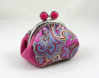 Cotton coin purse, metal frame purse, pink paisley pouch, handmade coin pouch, change purse