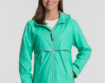 Monogrammed Rain Jacket, Monogrammed Rainjacket, Monogrammed Raincoat - Mint