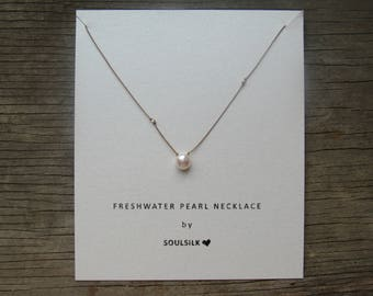 FRESHWATER PEARL and fine SILVER nuggets silk cord necklace gift card hand knotted daintydelicate June birthstone bridesmaid
