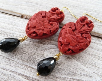 Red cinnabar earrings, black agate earrings, black red earrings, gemstone jewellery, oriental style jewelry, uk dangle earrings, gioielli