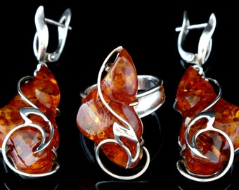 Russian Genuine Honey Baltic Amber Handcrafted Earrings and Adjustable Ring (8.5 - 10) 925 Sterling Silver Set