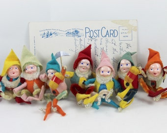 Vintage Set of 7 Elf/Pixie/Gnome Felt and Pipe Cleaner Ornaments, Vintage Pipecleaner Elf, Vintage Pixie, Vintage Gnome