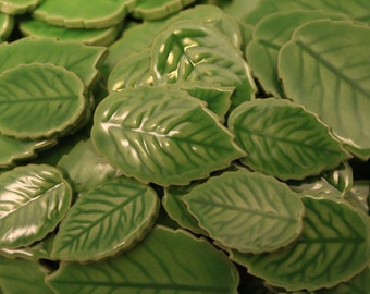 Mosaic Leaf Tiles, 30 Ceramic Mosaic Leaves, Mosaic Supplies, Mosaic Pieces, Handmade Mosaic Leaves, Item # E-1172, Light Green Color