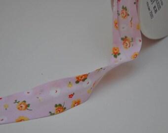 Cotone Fantasia Pink Roses Floral Bias Binding - 25mm width