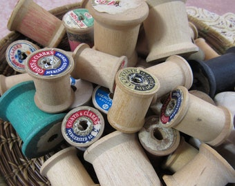 Vintage Lot Wooden Spools Sewing Thread Spools Crafting Home Decor