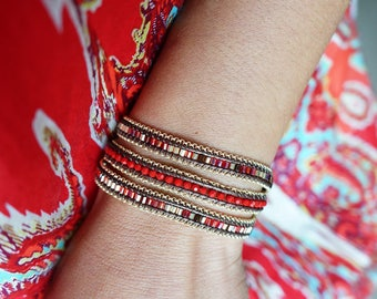 Red 3 Wrapped Bracelet with Gold Chain