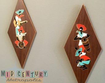 Mid Century Calypso Wall Plaques by Turner Wall Accessories