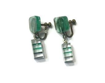 Green Lucite Dangle Earrings, Vintage 1960s Mod Earrings, Costume Jewelry