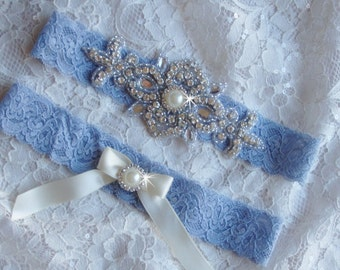 Something Blue Bridal Garter, Antique Blue Lace Garter, Victorian Wedding Garter, Wedding Garder, Rhinestone Garter Set, Weddings