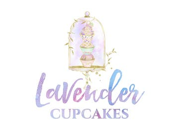 Hand drawn logo illustrated logo cupcake logo cake logo bakery logo whimsical logo feminine logo watercolor logo business logo design