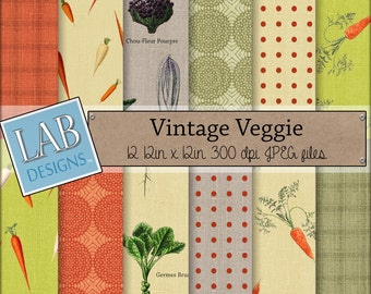 Vegetables Digital Paper - Veggie Carrot Garden - Digital Paper - Instant Download Seamless Food Printable Background for Personal Use