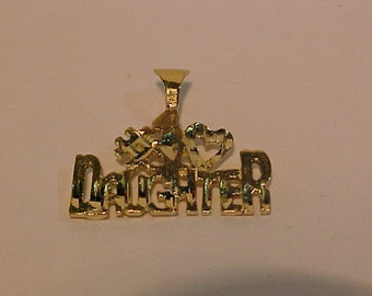 10K yellow gold pendant/charm*#1 DAUGHTER*-Ship to continental USA or Canada