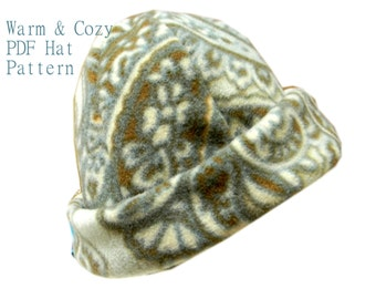 Baby Hat Sewing Pattern PDF Warm Fleece Hat Sewing Pattern for Girls or Boys Sizes Baby, Toddler, Child, Youth