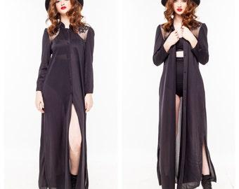 Vintage DVF Lace Sheer Maxi Dress