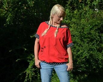 bat sleeve, tee shirt, T shirt, red, dandelion