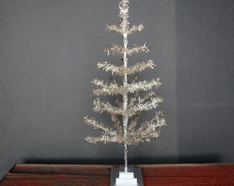 "36"" Silver Feather Tinsel Christmas Tree Table-Top Centerpiece Tree"