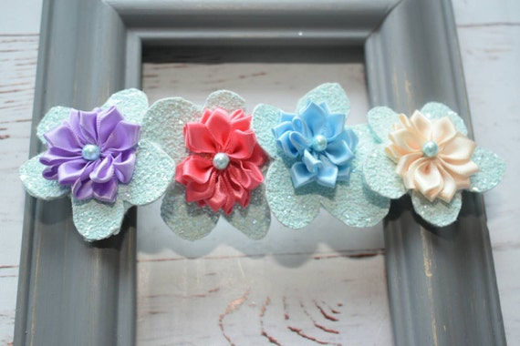 Spring glittery rosette floral hairband - Baby / Toddler / Girls / Kids Elastic Flower Crown / Hairband / Headband / photo propo