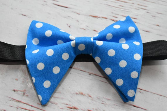 Royal blue and white polka dot butterfly / poppy Bow Tie  for Baby, Toddlers and Boys (Kids Bow Ties) with Braces / Suspenders