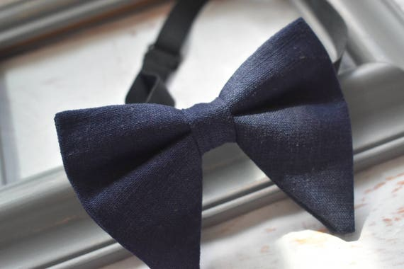 Kids Navy linen floppy / butterfly bow tie with Suspenders/Braces for Baby, Toddlers and Boys (Kids Bow Ties)