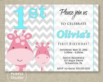 1st Birthday Invitation First Birthday Printable Giraffe Baby Shower Invitation Pink and Aqua Gray Chevron Party 5x7 Digital Invite 332