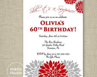 Red Surprise Party Invitation Red Gray Flower Bursts Invite 40th 50th 60th Party Invite Milestone DIY Printable Invitation 336
