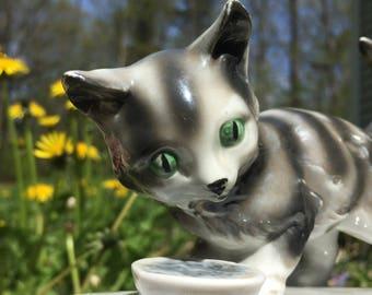 Beautiful Vintage Porcelain Ceramic Kitty Cat Figurine Germany Kronenadler