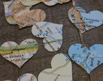 500 Pieces Map Atlas Paper Heart Wedding Confetti Mix / Table Decor Decoration Scatter Centerpiece Hand Punched