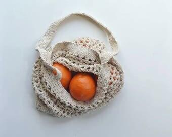 Cotton Candy Market Tote, Crochet Bag, Farmers Market Bag, Grocery Bag,