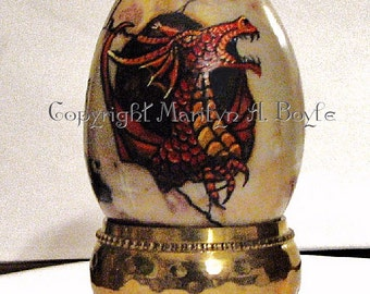STONE DRAGON EGG; hand painted red dragon, hatching, fantasy, shelf art, original art,