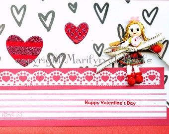 HAND MADE CARD - Valentine, for a girl, miniature doll, removable, red color, one of a kind, 5 x 7 approximately, envelope included