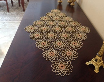 Gold Crochet Beaded Doily,Table Toppers
