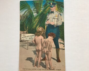 """Vintage Hartman Litho Company Comic Postcard """"Please Don't Mr Cop"""""""